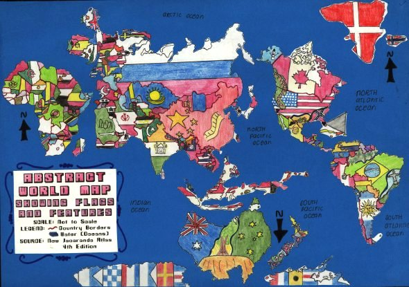 Map Of World Flags.Abstract World Map Showing Flags And Features Children Map Their